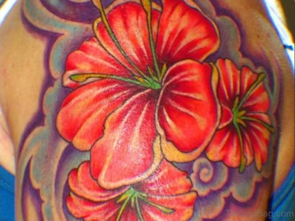 Pure Red Hibiscus Flower Tattoo