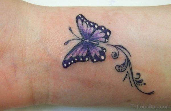 Purple Butterfly Tattoo On Wrist