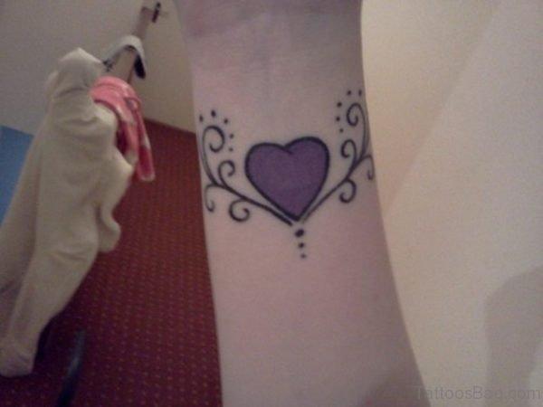 Purple Design Heart Tattoo