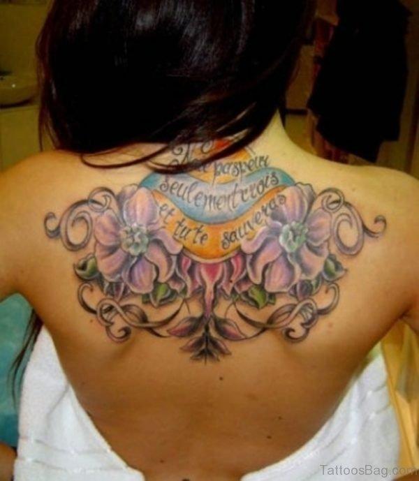 Purple Flower Wording Tattoo