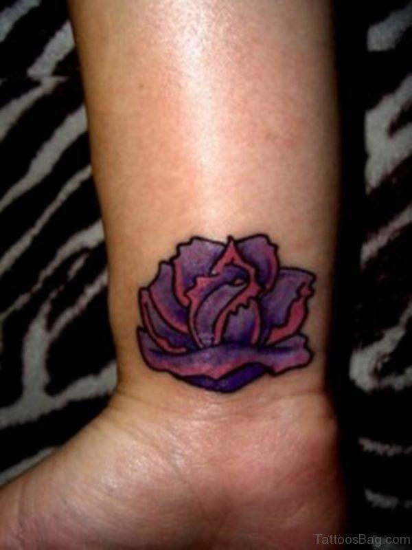 Purple Rose Tattoo On Wrist