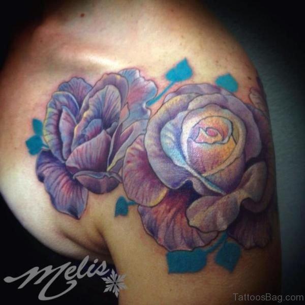 Purple Roses Shoulder Tattoo Design