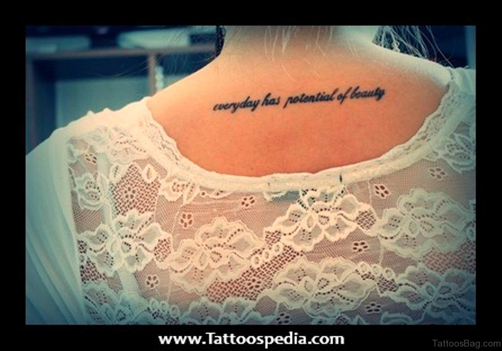 65 fine looking wording tattoos on back for Spine tattoo quotes