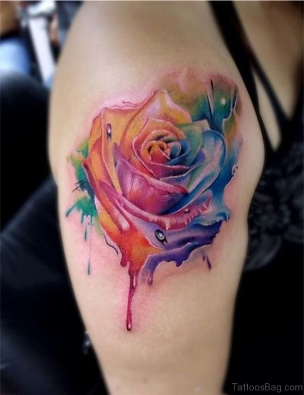 Rainbow Rose Flower Tattoo