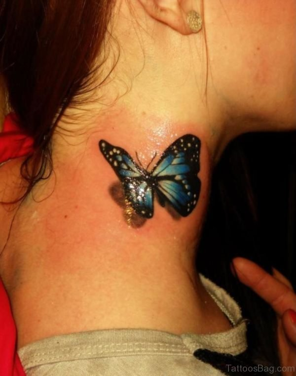 Realistic Butterfly Neck Tattoo