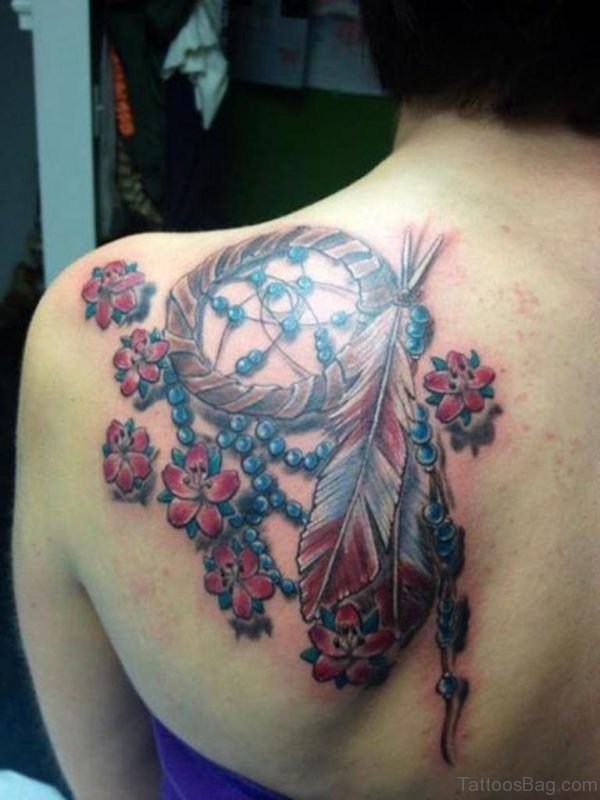 Realistic Dream Catcher Tattoo On Shoulder