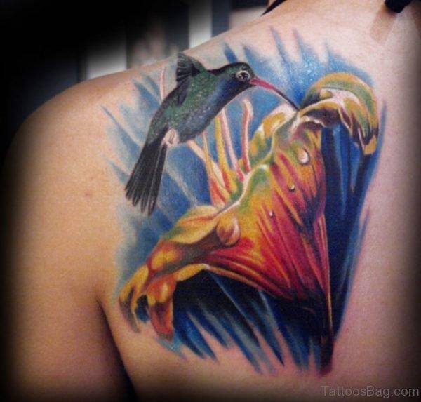 Realistic Hummingbird Tattoo On Back