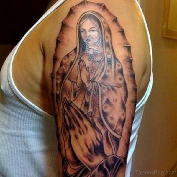 Realistic Mary Shoulder Tattoo Design