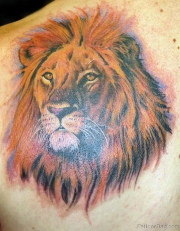 Realistic Orange Lion Tattoo