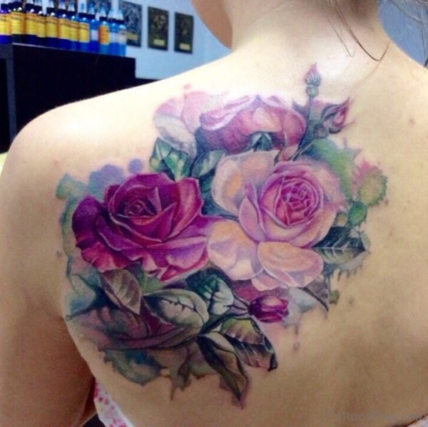 Realistic Pink Roses Shoulder Tattoo