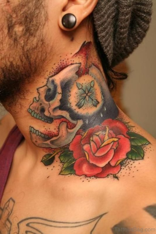 Realistic Skull And Rose Tattoo On Neck