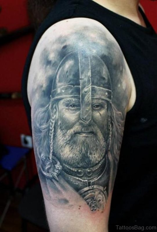 Realistic Viking Tattoo On Right Shoulder