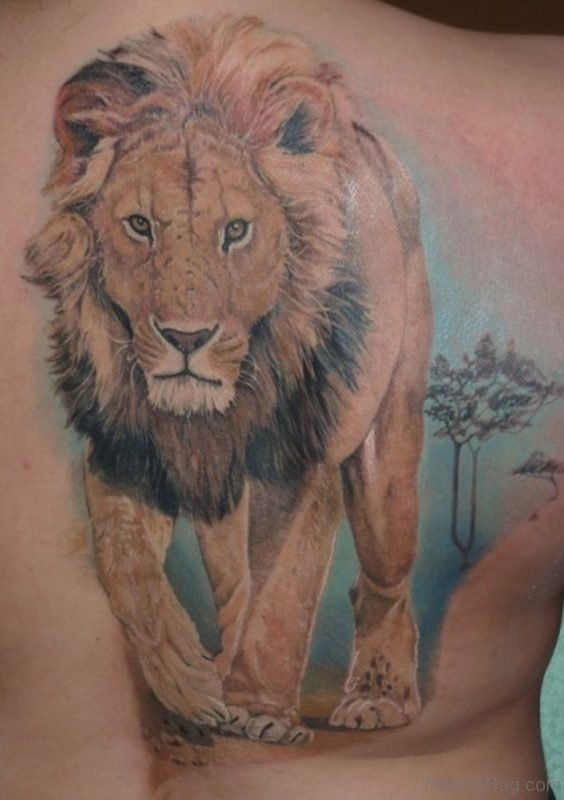 Realistic Lion Tattoo On Full Back
