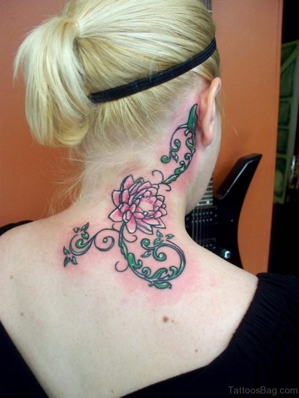 Red And Green Neck Tattoo