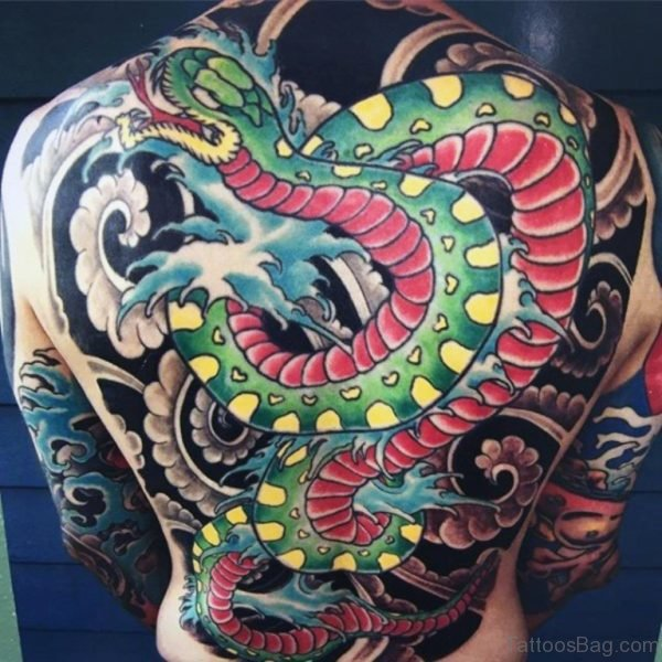 Red And Green Snake Tattoo