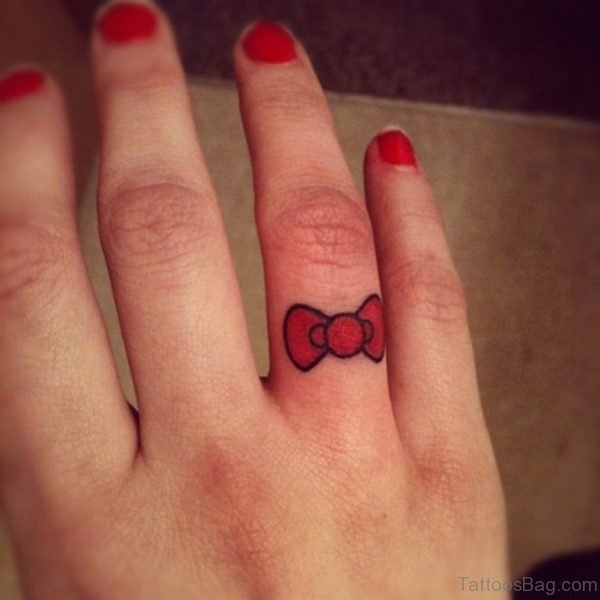 Red Bow Tattoo On Finger