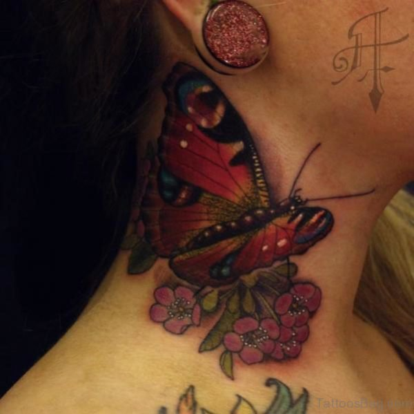 Red Butterfly On Flower Neck Tattoo
