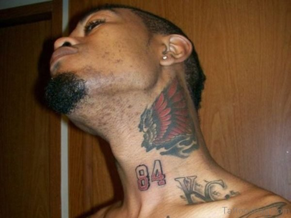 Red Butterfly Tattoo Design On Neck