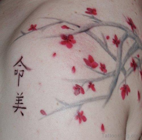 Red Cherry Blossom Tattoo