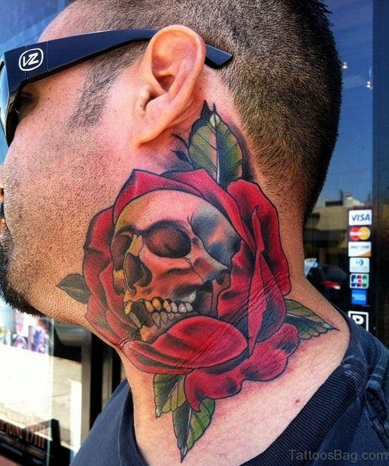 Red Colored Rose And Skull Tattoo On Neck