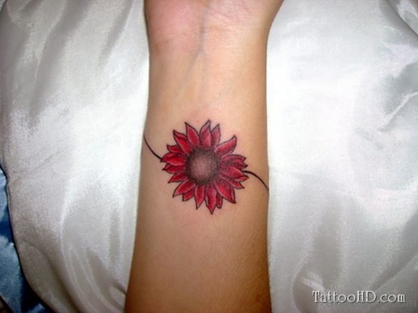 Red Daisy Flower Tattoo
