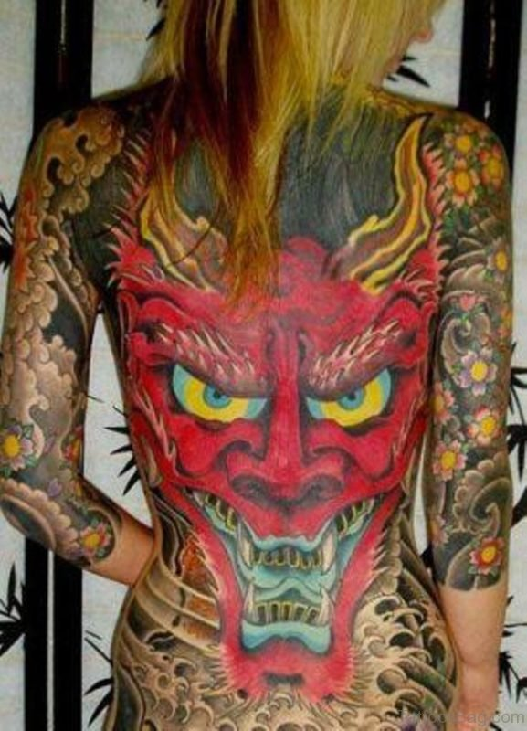 Red Devil Tattoo On Back