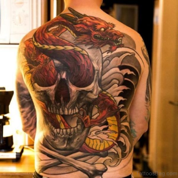 Red Dragon And Skull Tattoo