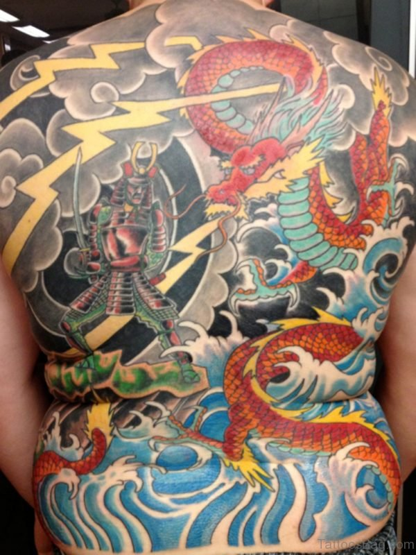 Red Dragon And Samurai Tattoo
