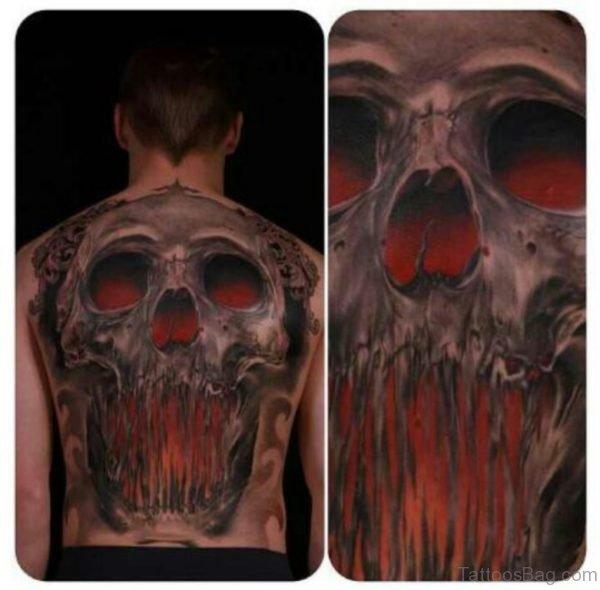 Red Eyes Skull Tattoo