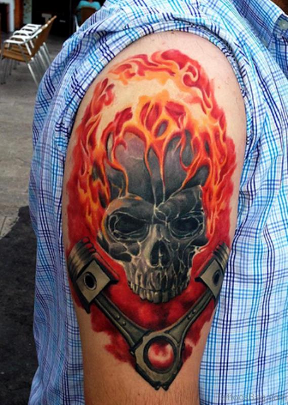 Red Fire Skull Tattoo For Men