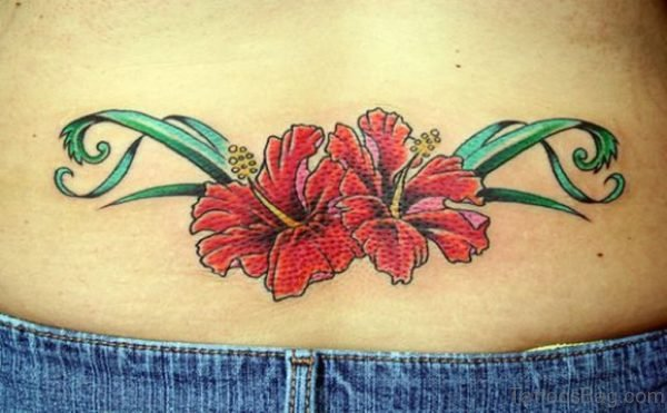 Red Flower Tattoo On Lower Back