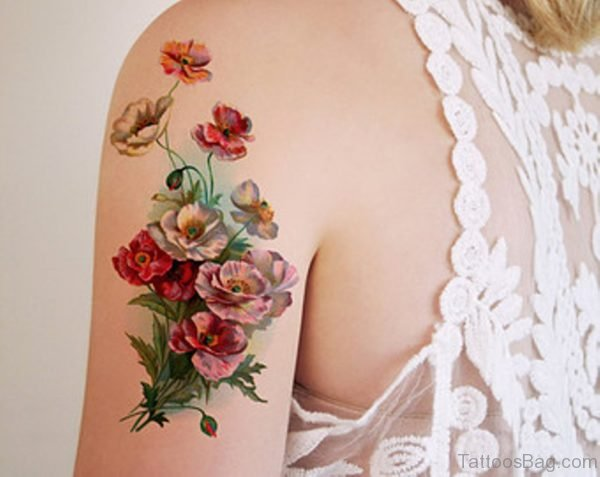 Red Flowers Vintage Tattoo