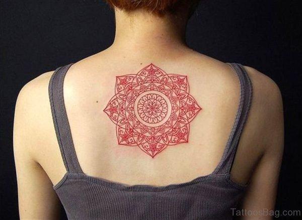 Red Geometric Tattoo On Back