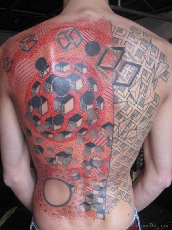 Red Geometric Tattoo On Full Back