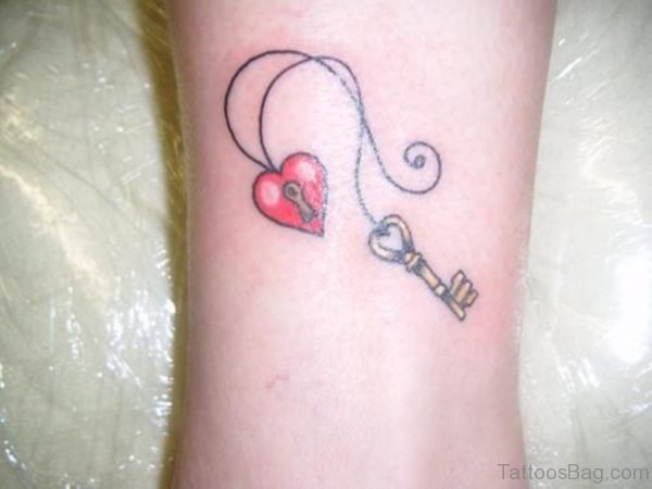 Red Heart And Key Tattoo