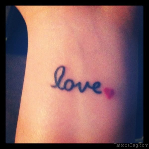 Red Heart And Love Tattoo