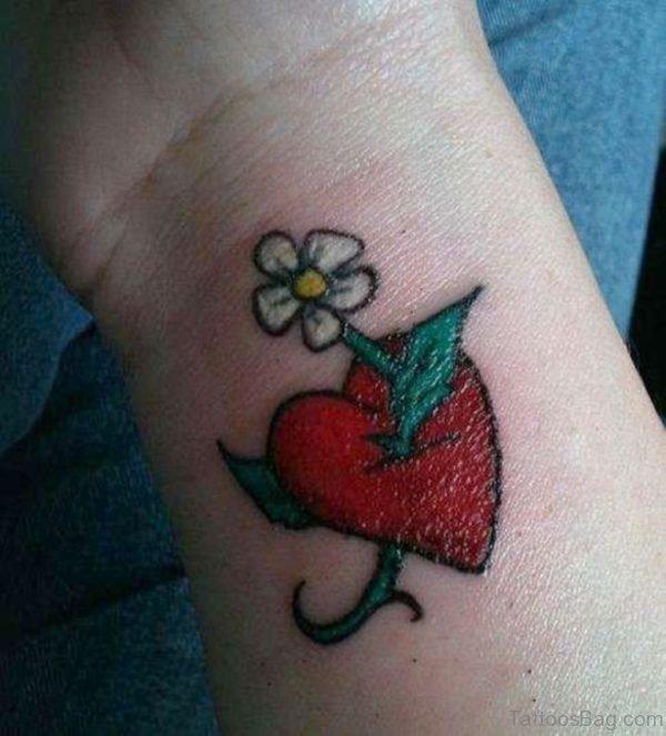 Red Heart Flower Wrist Tattoo