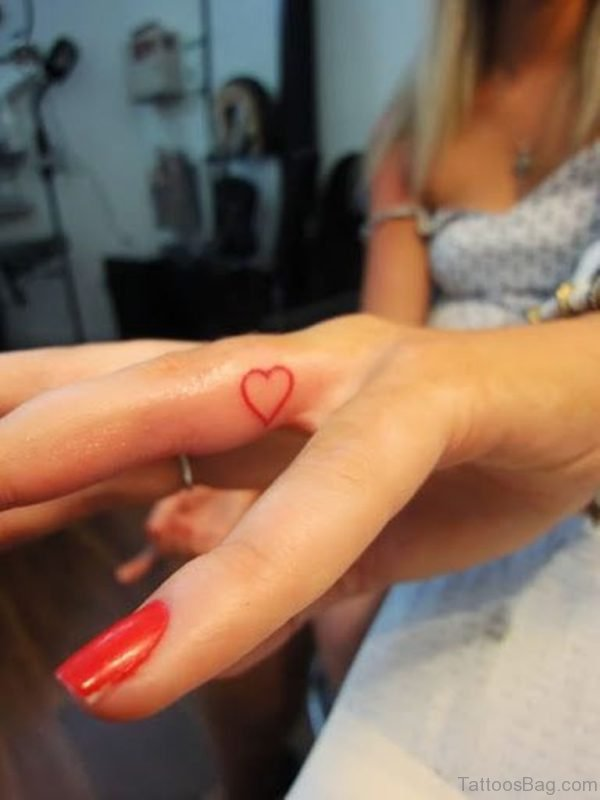 Red Heart Tattoo On Finger