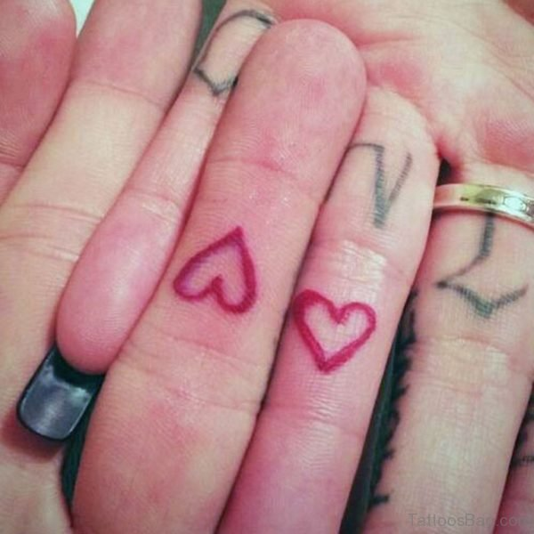 Red Heart Tattoos on Finger
