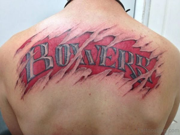 Red Ink Name Tattoo On Back