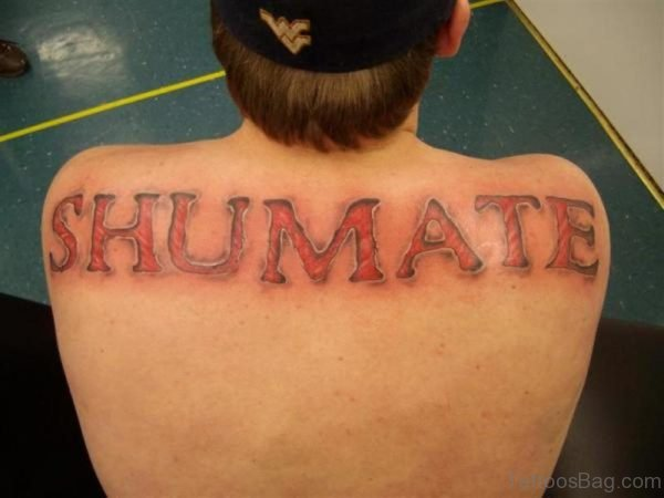 Red Ink Name Tattoo