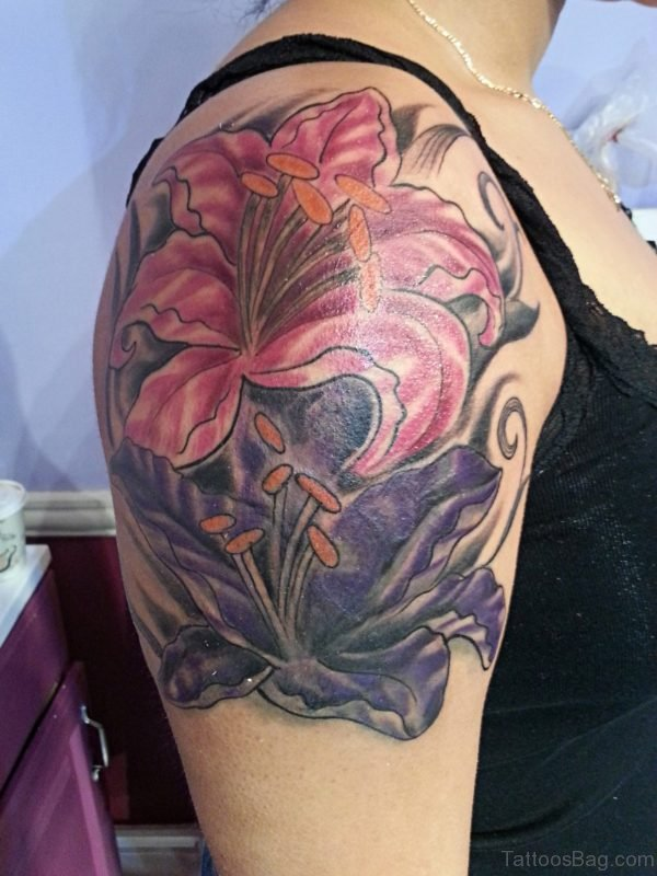 Red Lily Flower Tattoo