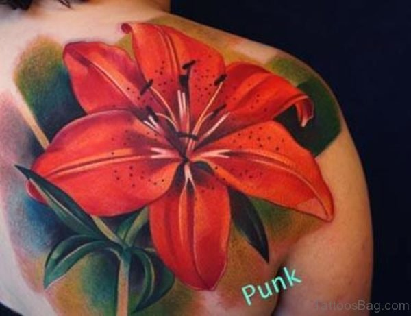 Red Lily Tattoo Design