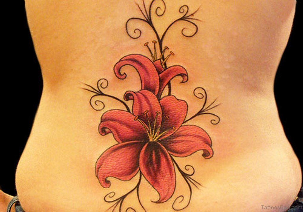 80 attractive lily tattoos for Red flower tattoo