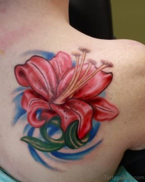 Red Lily Tattoo On Back Shoulder