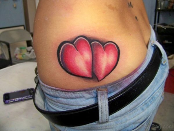 Red Love Hearts Tattoo