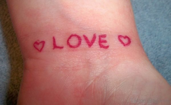 Red Love  Word Tattoo