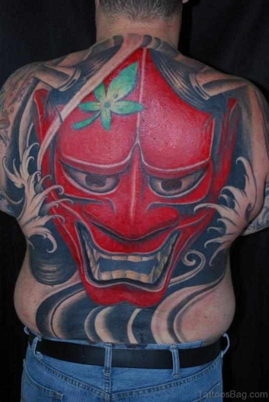 Red Mask Tattoo On Back