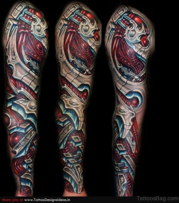 Red Mechanical Tattoo On Full Sleeve