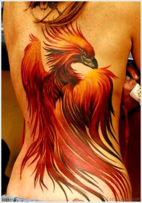 Red Phoenix Bird Tattoo